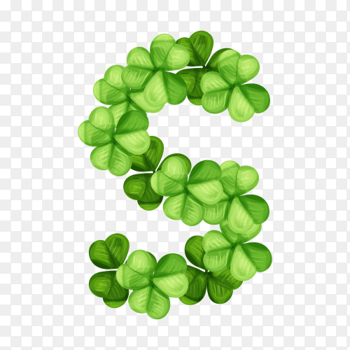 Letter S clover ornament isolated on transparent background PNG