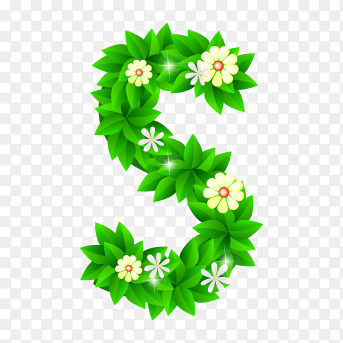 Letter S of the green and white flowers isolated on transparent background PNG