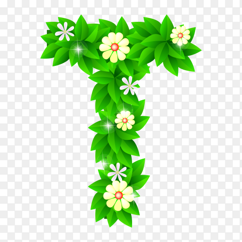 Letter T of the green and white flowers isolated on transparent background PNG
