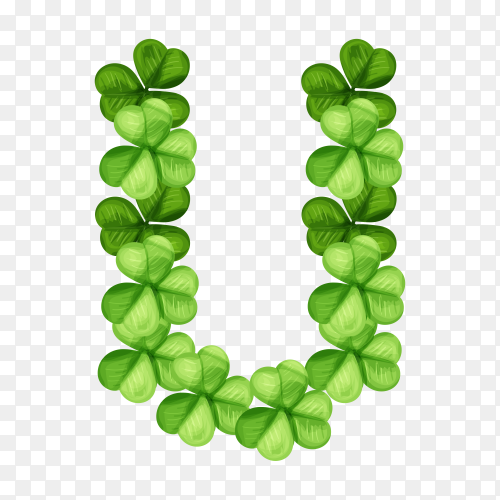 Letter U clover ornament isolated on transparent background PNG