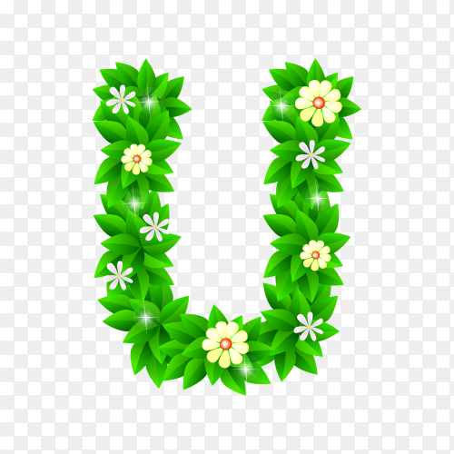 Letter U of the green and white flowers isolated on transparent background PNG
