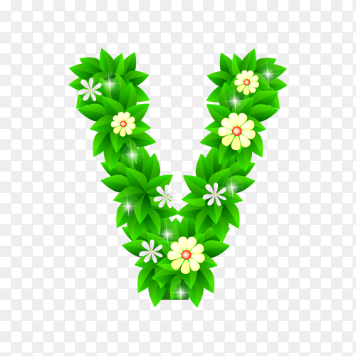 Letter V of the green and white flowers isolated on transparent background PNG