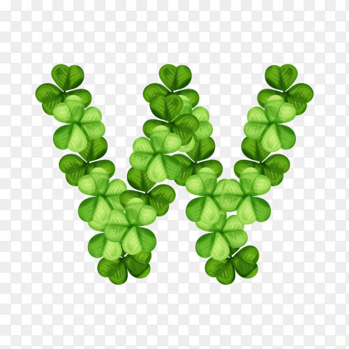 Letter W clover ornament isolated on transparent background PNG