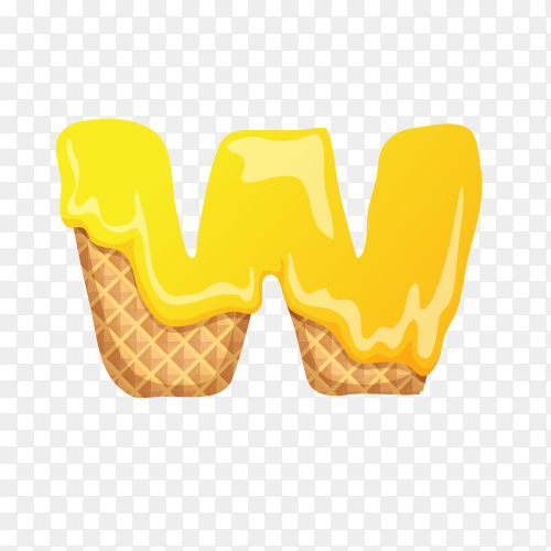 Letter W made of ice cream waffle on transparent background PNG