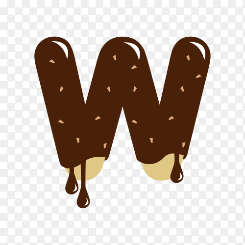 Letter W with chocolate on transparent background PNG