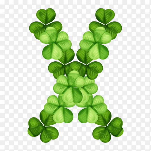 Letter X clover ornament isolated on transparent background PNG