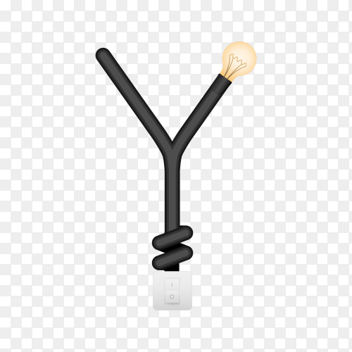 Letter Y with bulb lights design on transparent background PNG