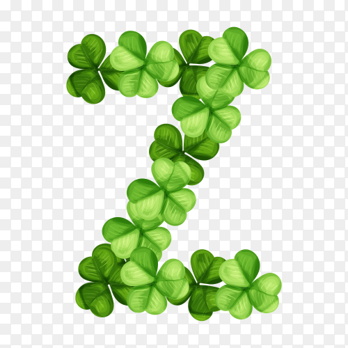 Letter Z clover ornament isolated on transparent background PNG