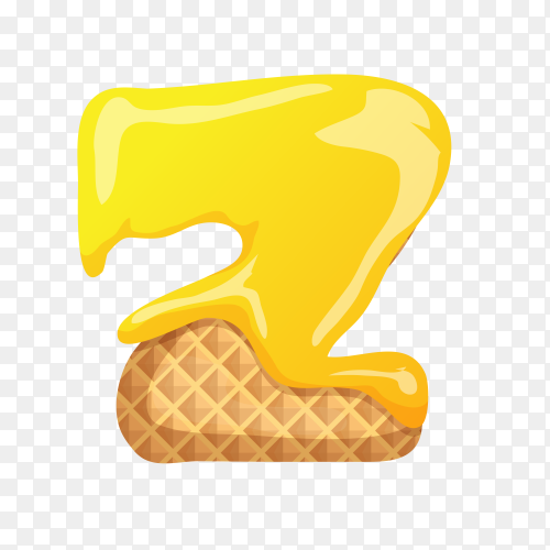 Letter Z made of ice cream waffle on transparent background PNG