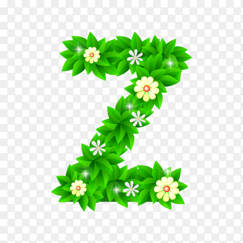Letter Z of the green and white flowers isolated on transparent background PNG