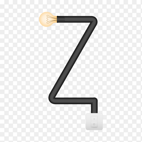 Letter Z with bulb lights design on transparent background PNG