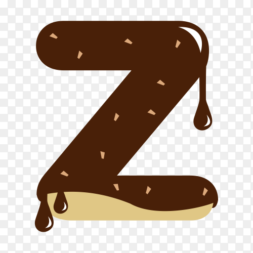 Letter Z with chocolate on transparent background PNG