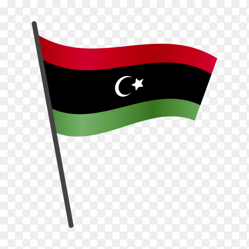 Libya flag waving on a flagpole on transparent background PNG