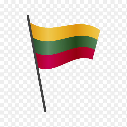Lithuania flag waving on a flagpole on transparent background PNG