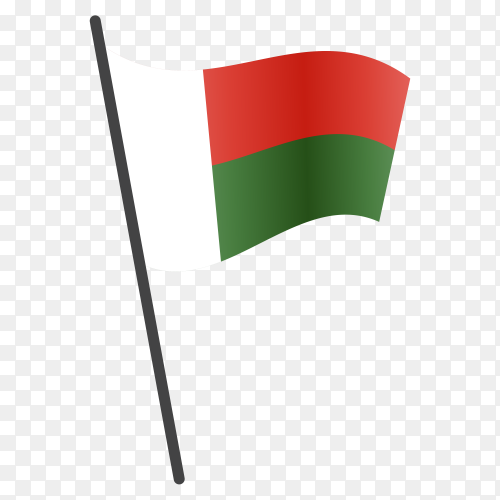 Madagascar flag waving on a flagpole on transparent background PNG