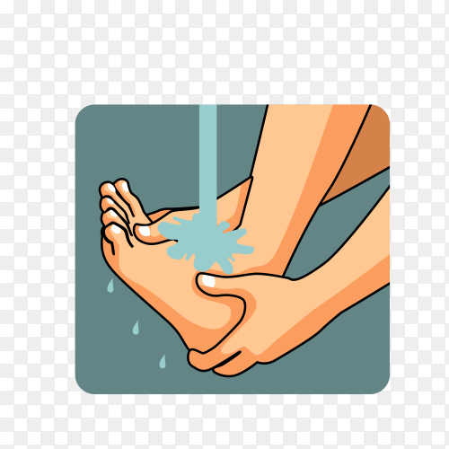 Man Muslim perform ablution (wudhu) washing foot before prayer Premium vector PNG