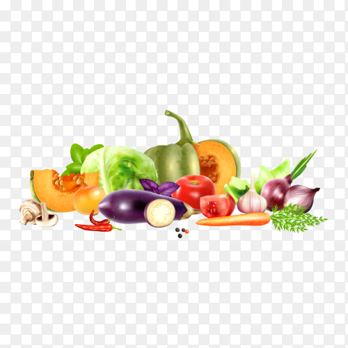 Mix of different vegetables isolated on transparent background PNG