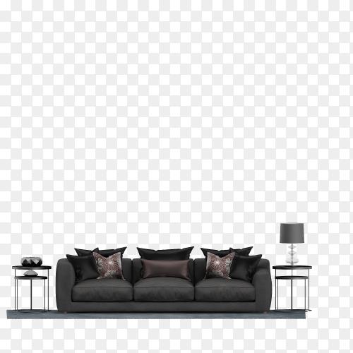Modern black sofa on transparent background PNG