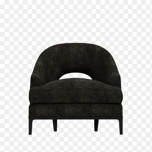 Modern chair in black color on transparent background PNG