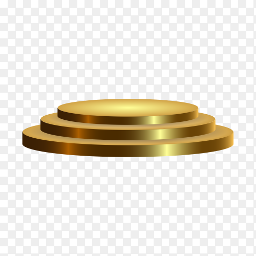 Modern golden round podium with steps on transparent background PNG