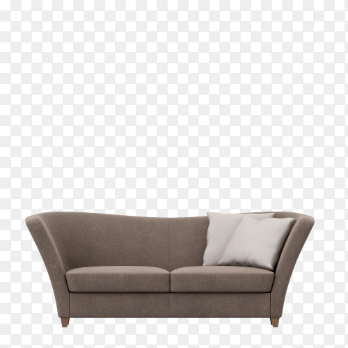 Modern gray modular sofa with pillows isolated on transparent background PNG