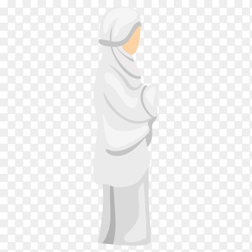 Muslim female praying on transparent background PNG