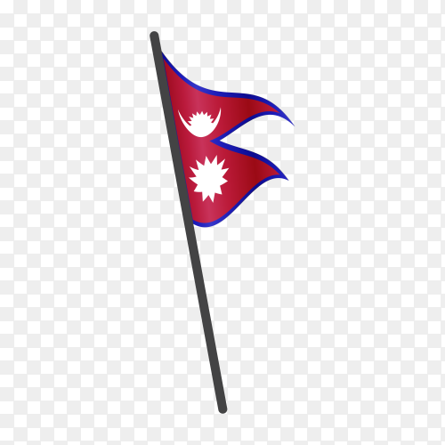 Nepal flag waving on a flagpole on transparent background PNG