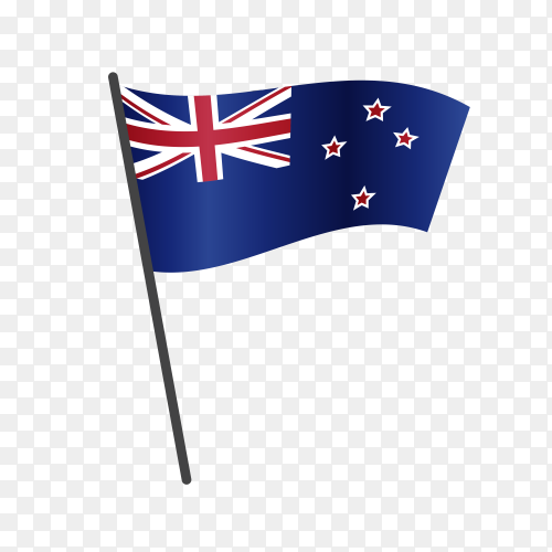 New Zealand flag waving on a flagpole on transparent background PNG