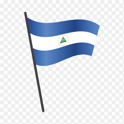 Nicaragua flag waving on a flagpole on transparent background PNG