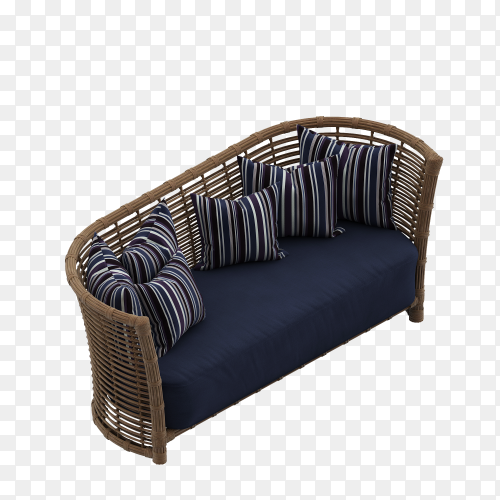 Nice Blue sofa with pillows over on transparent background PNG