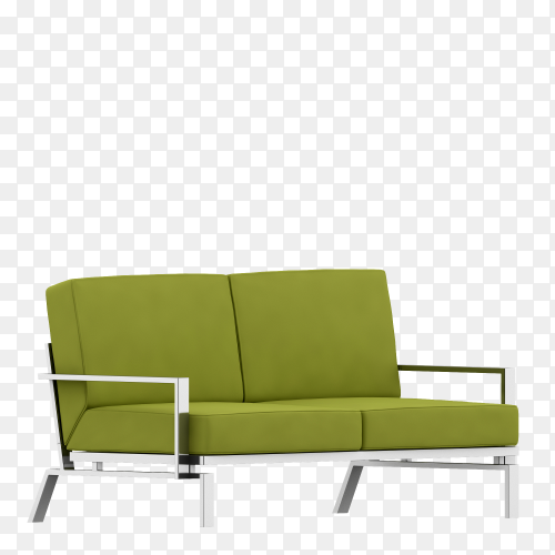 Nice green sofa with legs isolated on transparent background PNG