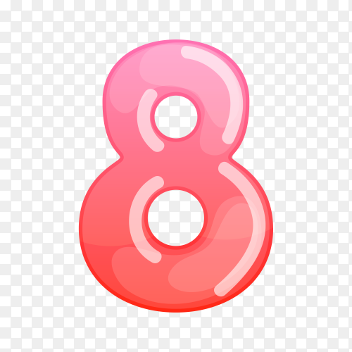 Number Eight in flat design on transparent background PNG