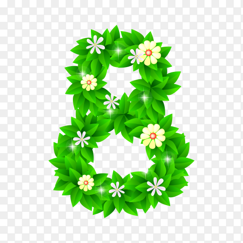 Number Eight of the green and white flowers isolated on transparent background PNG