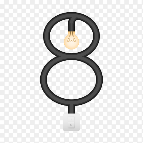 Number Eight with bulb lights design on transparent background PNG