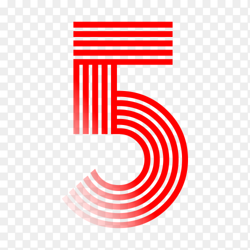 Number Five in red color on transparent background PNG