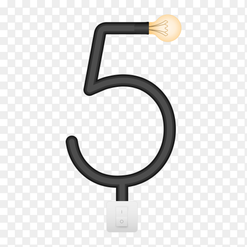 Number Five with bulb lights design on transparent background PNG