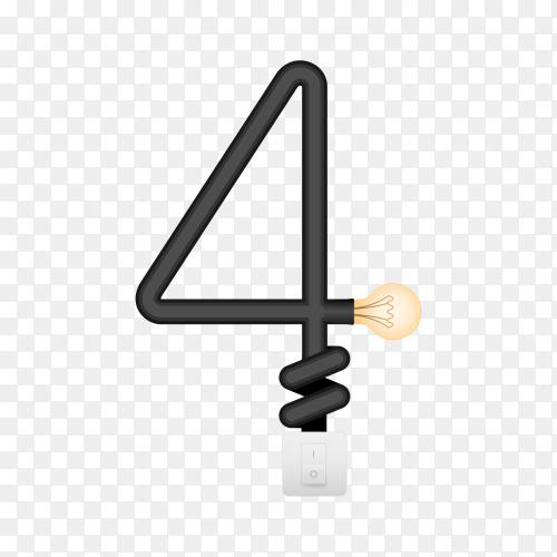 Number Four with bulb lights design on transparent background PNG