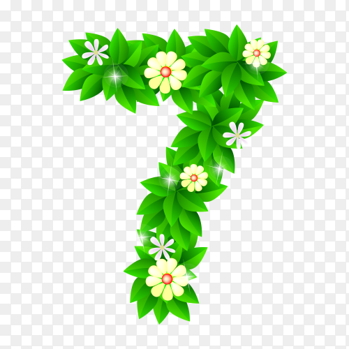 Number Seven of the green and white flowers isolated on transparent background PNG