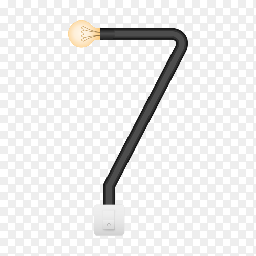 Number Seven with bulb lights design on transparent background PNG