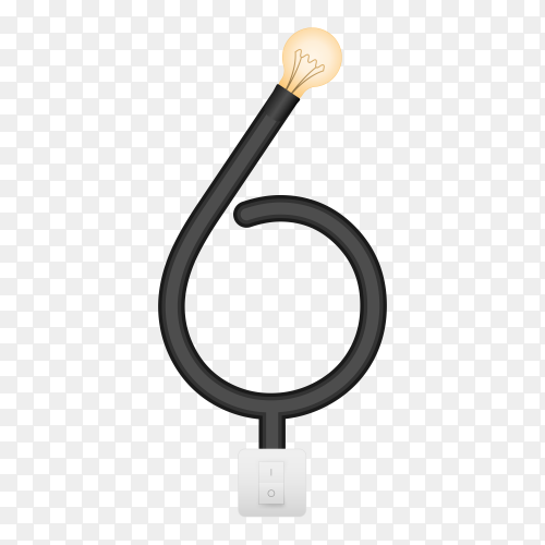Number Six with bulb lights design on transparent background PNG