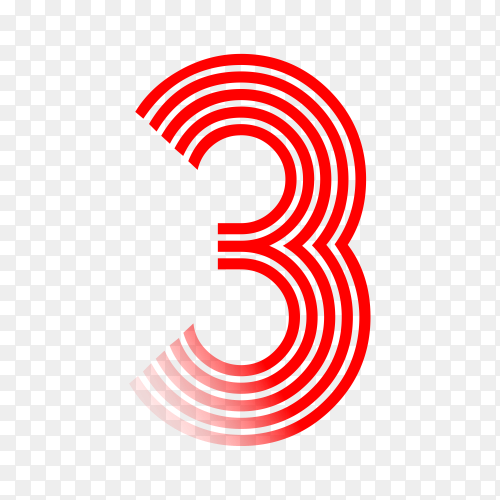 Number Three in red color on transparent background PNG