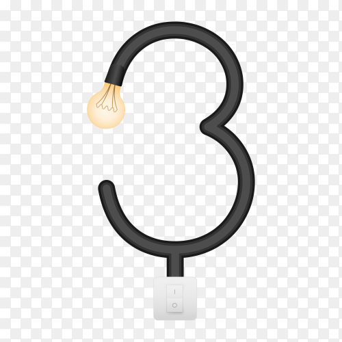 Number Three with bulb lights design on transparent background PNG