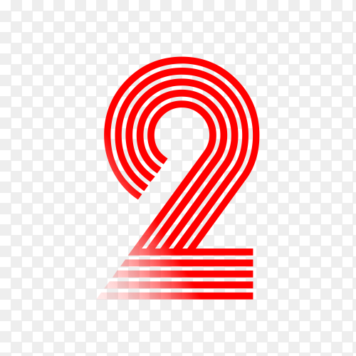 Number Two in red color on transparent background PNG