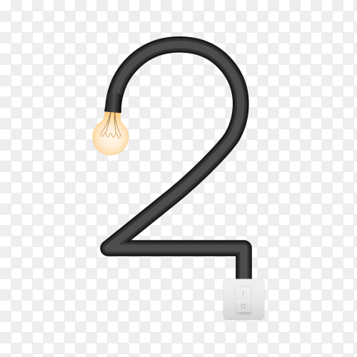 Number Two with bulb lights design on transparent background PNG