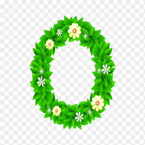 Number Zero of the green and white flowers isolated on transparent background PNG