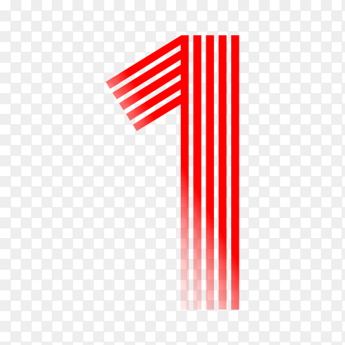 Number one in red color on transparent background PNG