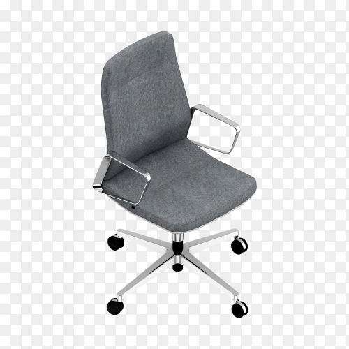 Office Chair with gray fabric of isolated on transparent background PNG
