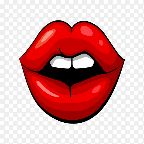 Open mouth with red lips on transparent background PNG