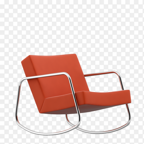 Orange chair isolated on transparent background PNG