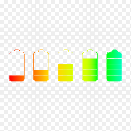 Outline icons set of battery charge level indicators on transparent background PNG